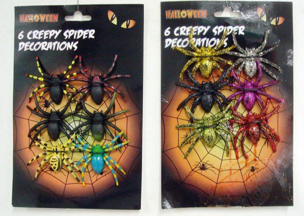 Creepy spindel dekorations 6 p för halloween dekorationer | Materialbutiken