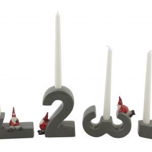 Köp röd vit grå adventsljuss med siffror 1 till 4 för festtillbehör | Materialbutiken