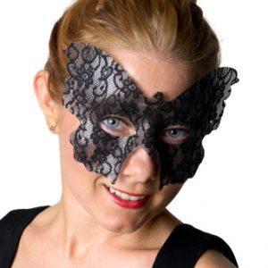 Köp svart fjäril ögonmask med spets för halloween dekorationer | Materialbutiken