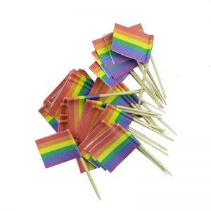 Köp 50 packa regnbågsflaggan för cocktails som festtillbehör | Materialbutiken