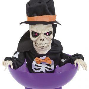 Köp skelett i en godisskål för halloween dekorationer | Materialbutiken