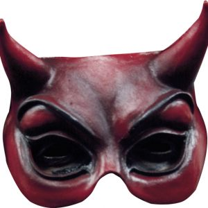 Köp ghoulish red devil halvmask för halloween dekorationer | Materialbutiken