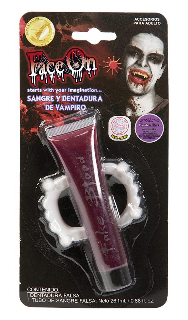 Köp face on falska blod tänder för halloween dekorationer | Materialbutiken