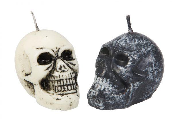 Köp dödskalle ljus i display för halloween dekorationer | Materialbutiken