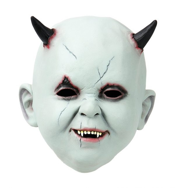 Köp baby ansikte med horn latex mask för halloween dekorationer | Materialbutiken
