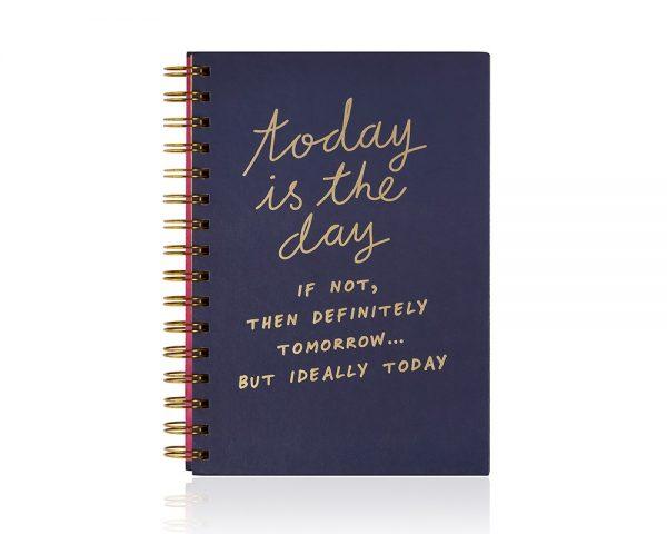 Köp linj skrivbok a5 med 'today is the day' meddelande festtillbehör | Materialbutiken